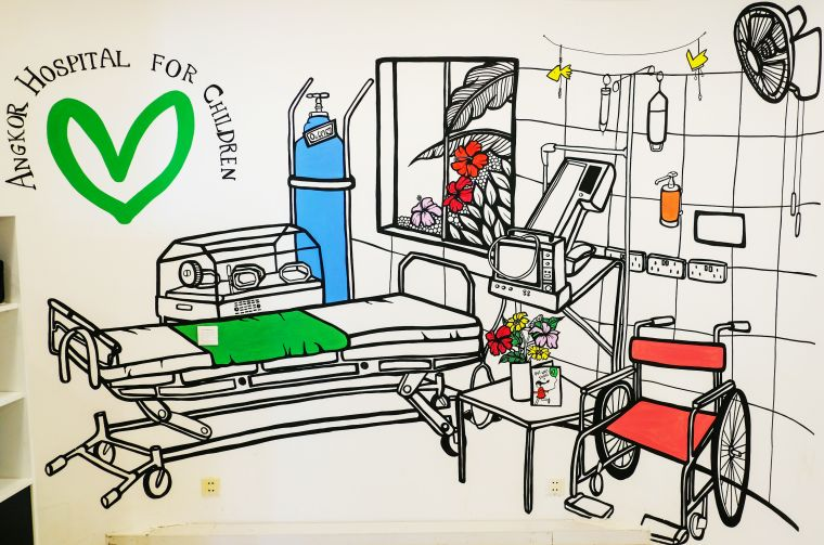 Drawing of a hospital room