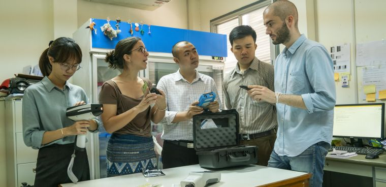 Dr Céline Caillet reviews medicine quality screening devices with Medicine Quality Research Group