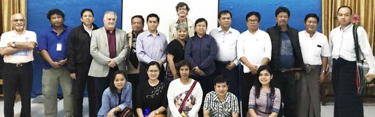Group photo with SMRU Director François Nosten with the Myanmar Health Sector Coordination Committee (MHSCC) and Myanmar and Karen health authorities