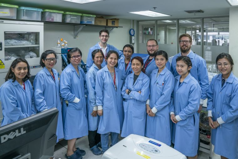 A group picture of the Clinical Pharmacology team in the laboratory
