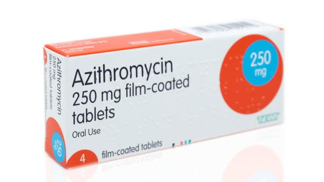 Packet of azithromycin medication