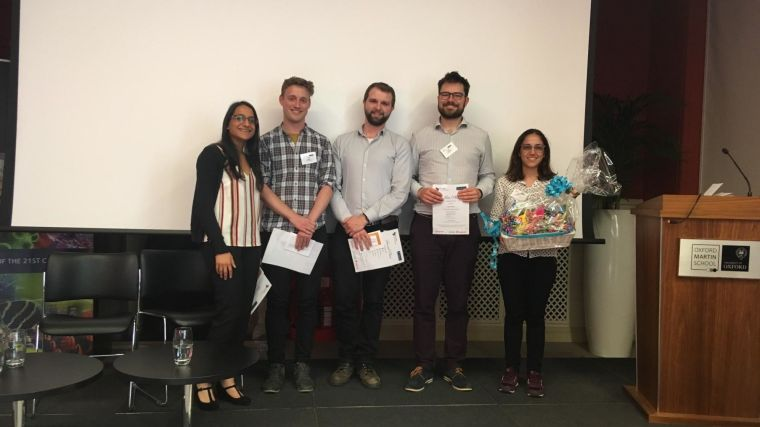 The 2018 award winners from left to right (above): Ishna Mistry (1st place oral), Edward Ottley (1st place poster), Joshua Owen (2nd place oral), Edward O'Neill (best graphical abstract), Giuliana De Gregoriis (networking prize). Abhay Singh was the winner of the 2nd place poster prize (not pictured).