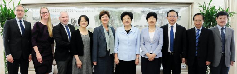 Group shot at meeting at Ministry of Health in China