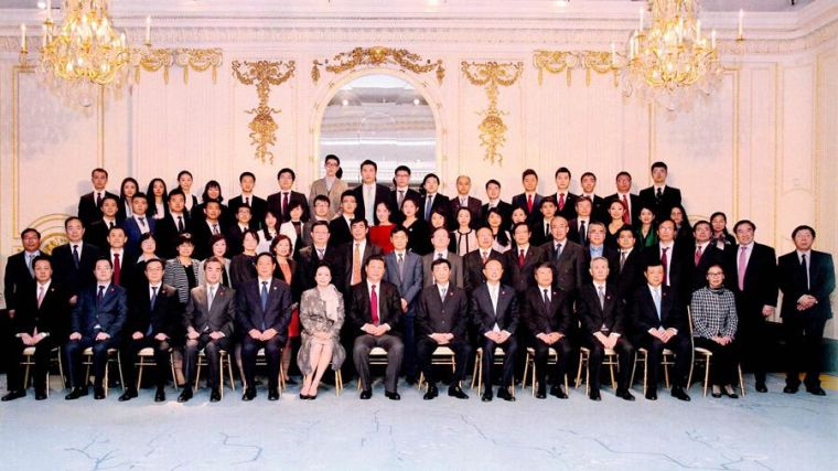 Group photo of meeting with Chinese President Xi