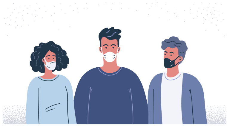 illustration of three normal people all wearing face coverings