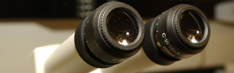Close up of a microscope viewfinder