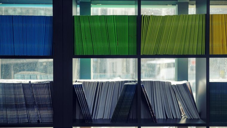 Journals on a bookshelf in a library