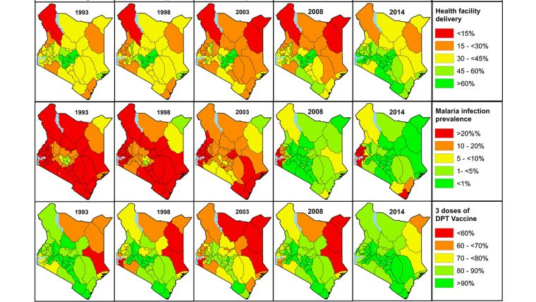 Maps of Kenya, showing over the years (1993 to 2014) the evolution of (1) Health facility delivery, (2) Malaria infection prevalence and (3) 3 doses of DPT vaccines administered