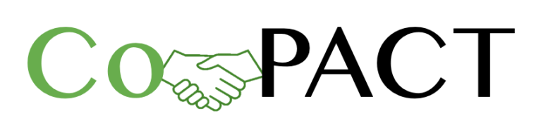 A black and green logo with the word Co-pact, where the dash is replaced with shaking hands to represent collaboration