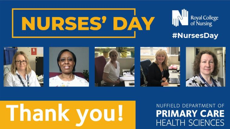 A phot of five of our research nurses on the nurses day banner
