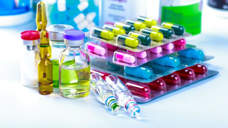 A variety of medicines in tablet and liquid form
