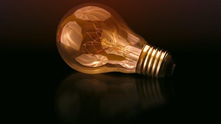 A lightbulb lying on its side.