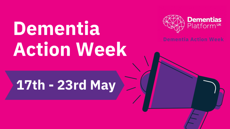 A graphic for Dementia Action Week with a megaphone announcing the dates 17th-23rd May.