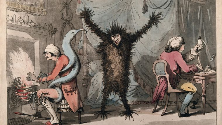 Fever, represented as a frenzied beast, stands racked in the centre of a room, while a blue monster, representing ague, ensnares his victim by the fireside; a doctor writes prescriptions to the right. Coloured etching by T. Rowlandson after J. Dunthorne, 1788.