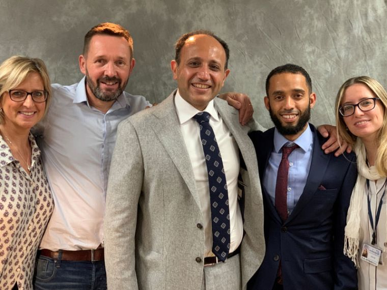 Photograph showing Dr Siobhan Ferguson, Ian Hindle, Prof Ahmed Ahmed, Abdulkhaliq Alsaadi  and Dr Mara Artibani.