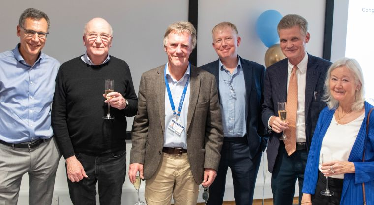 Dr Bruno Holthof (CEO of Oxford University Hospitals NHS Foundation Trust), Prof. Doug Higgs (Director of the MRC WIMM), Sir Peter Ratcliffe, Prof. Richard Cornall (Head of NDM), Sir John Bell (Regius Chair of Medicine) and Dame Kay Davies (Professor of Anatomy)