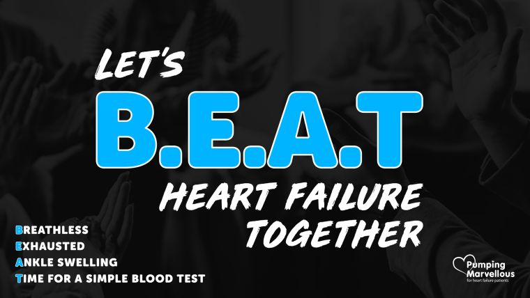 Graphic about beating heart failure from Pumping Marvellous charity.