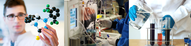 Three images in sequence - someone with clear liquid, someone working on a liver perfusion machine, someone holding a molecular structure model