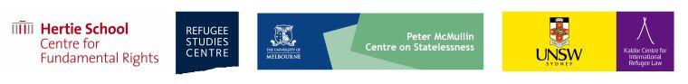 Oxford Handbook of International Refugee Law launch logos