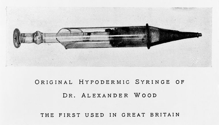 Original Hypodermic Syringe of Dr. Alexander Wood. The first used in Great Britain.  Image credit: History of Scottish medicine / by John D. Comrie. Wellcome Collection https://wellcomecollection.org/works/p3bwpd8b. Attribution 4.0 International (CC BY 4.0) https://creativecommons.org/licenses/by-nc/4.0/.
