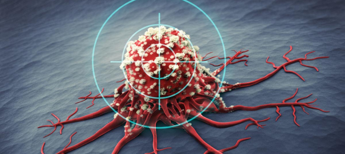 A cancer cell under a microscope with a target over it