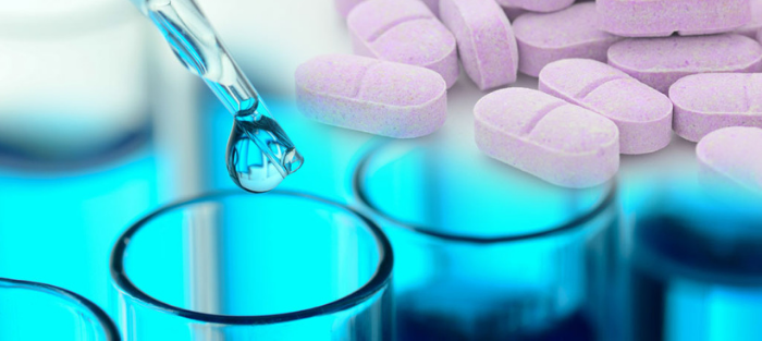 A variety of treatments such as pills and vials with liquid, for cancer treatment