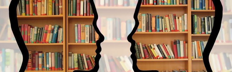 Two human heads silhouette with books inside of the silhouettes.
