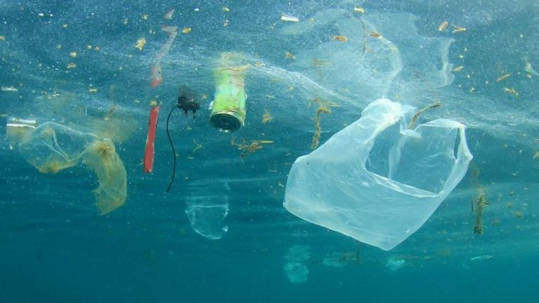 An image of plastic floating in the ocean