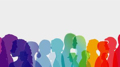 Colourful silhouette of different figures