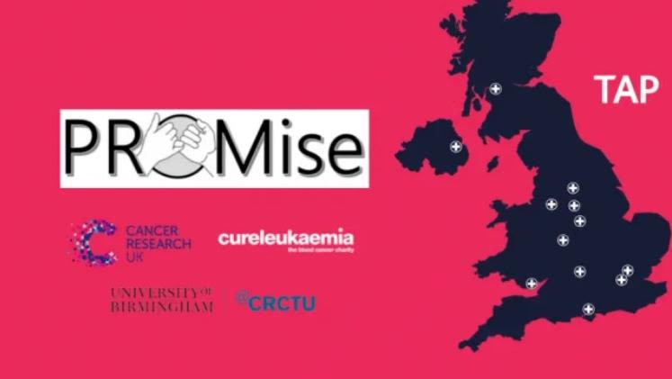 Map of Great Britian showing NHS centres were trials are launching, and logos of Promise trial, Cancer Research UK, Cancer Research UK Clinical Trials Unit, Cure Leukaemia and University of Birmingham