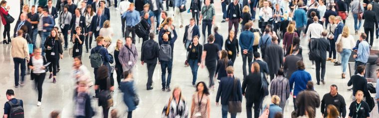 Image showing a crowd of people walking in a public place