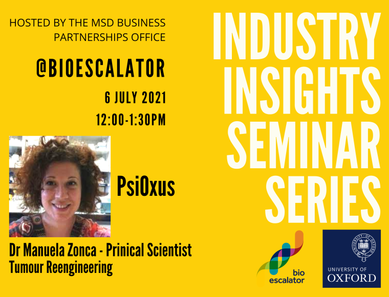 Flyer for July's edition of the Industry Insights seminar featuring Dr Manuela Zonca, 12 noon 6th July 2021