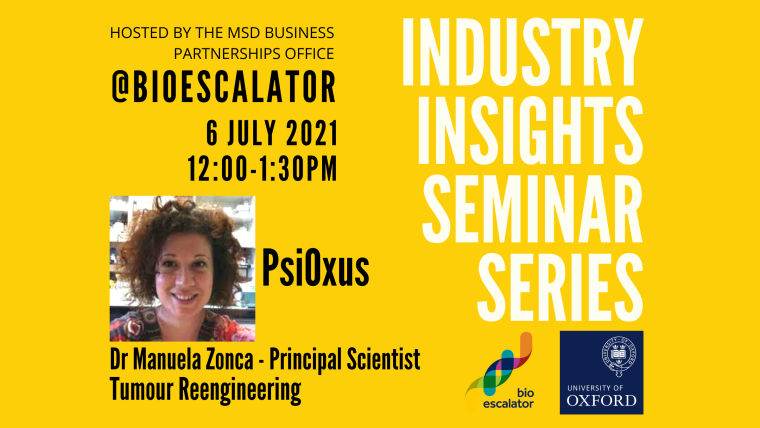 Listing image for July's edition of the Industry Insights seminar featuring Dr Manuela Zonca, 12 noon 6th July 2021.