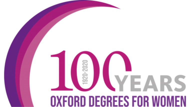 image shows 100 years between 1920 and 2020 Oxford degrees for women.