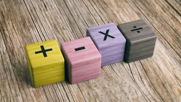 Line of dice with mathematical symbols