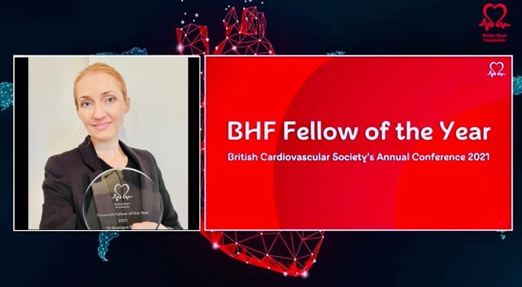 Composite image showing woman holding award and BHF Fellow of the Year lettering, with heart schematic drawings in background.
