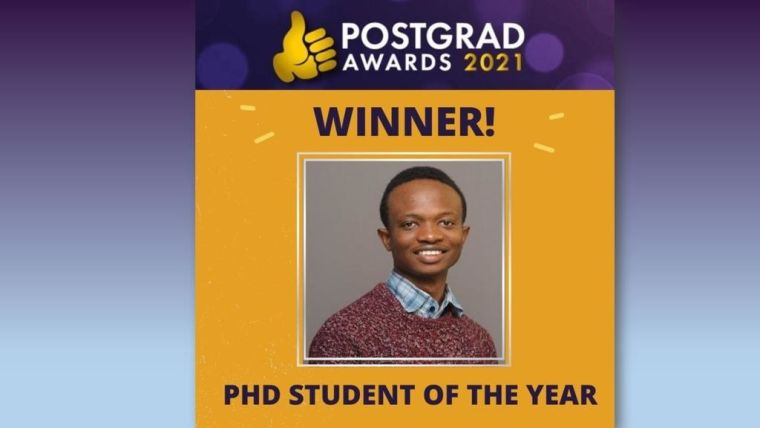 In a record breaking year for the Postgrad Awards 2021, DPhil student Tolu Awoyemi wins PhD Student of the Year. The award recognises the individual PhD student who has become an excellent and inquisitive researcher, who is an integral part of their research group, someone who encourages and supports more junior members of the team, and works alongside the research community more widely.
