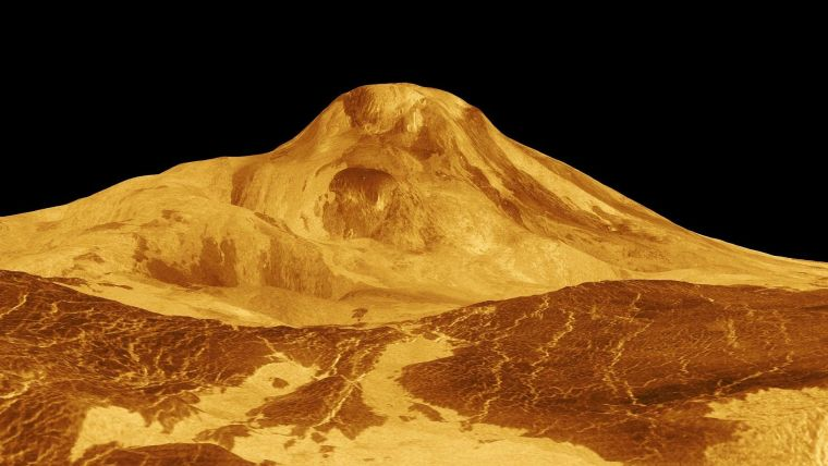 3D view of Maat Mons, a mountain on Venus, created using radar images