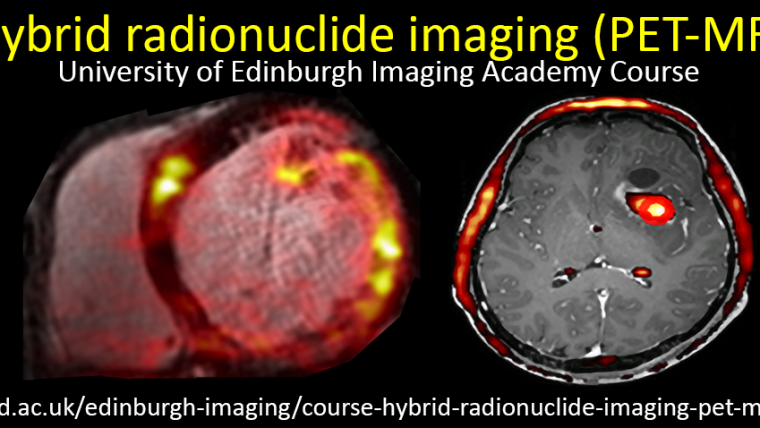 Poster for the Hybrid radionuclide imaging – PET-MR course, featuring two brain scans.