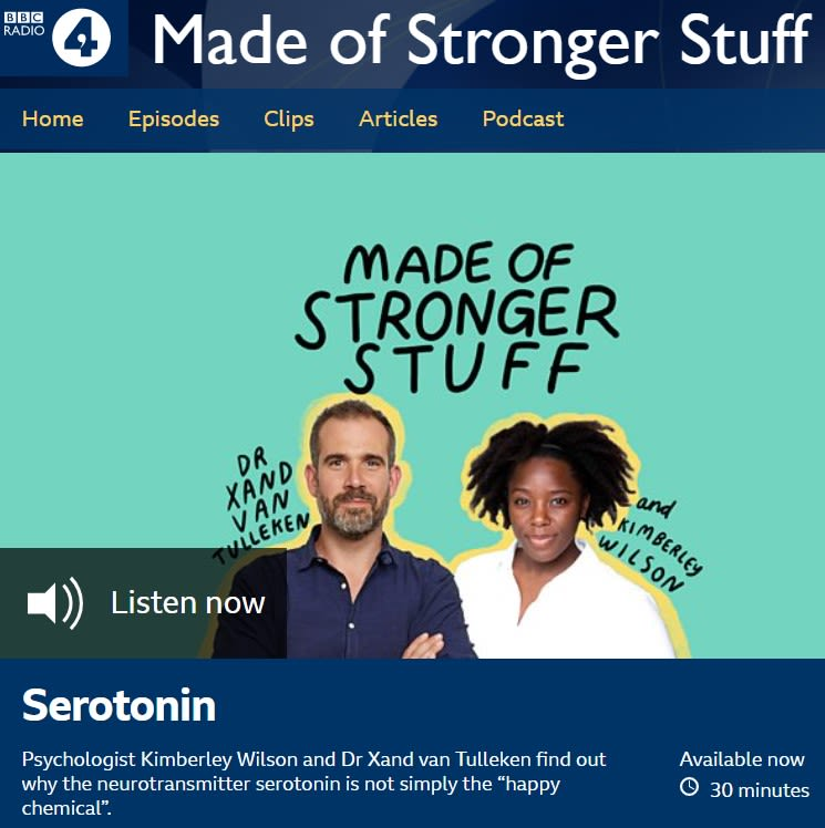 Screen capture of BBC Radio 4 page where you can listen to podcast. Photo of hosts Dr Xand Van Tulleken and Kimberley Wilson