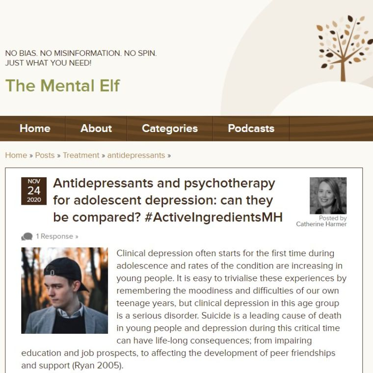 Screen capture of The Mental Elf blog webpage with blog title and introductory paragraph