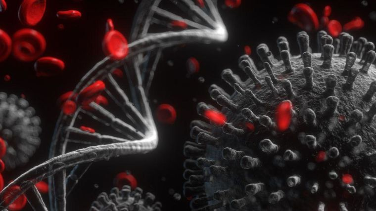 Artist's impression of coronavirus with DNA strands and blood cell antibodies