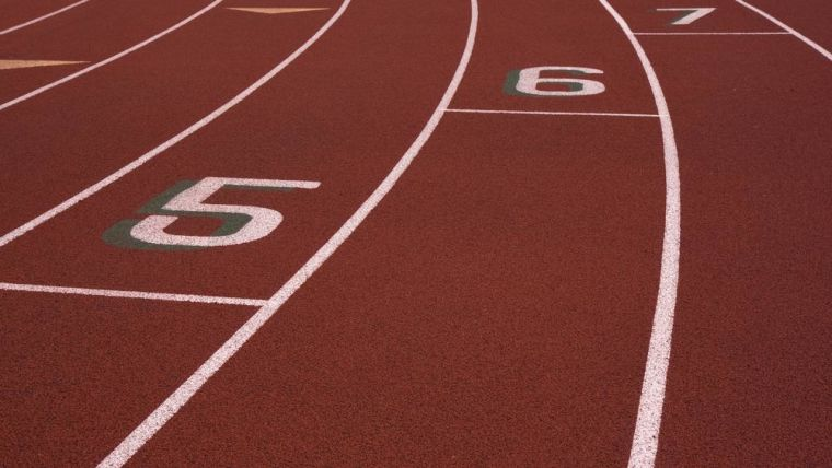 Phot of a running race track staggered start