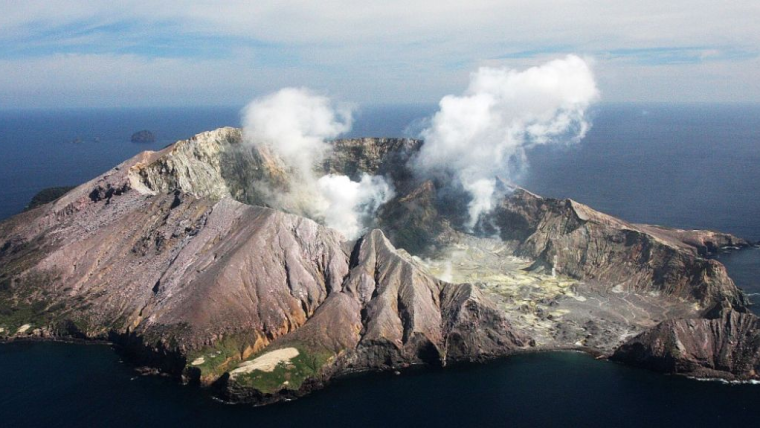White Island volcano, New Zealand, one of many volcanoes worldwide that discharge hot, metal-rich fluids to the atmosphere.