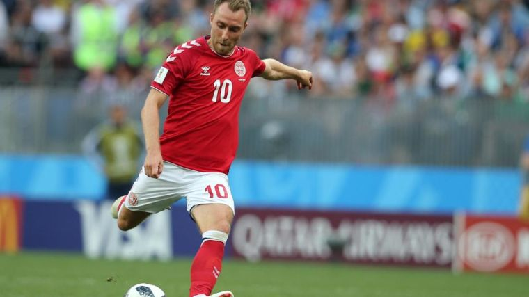 CHRISTIAN ERIKSEN in action during the Fifa World Cup Russia 2018, Group C, football match between DENMARK V FRANCE in Luzhniki Stadium MOSCOW.