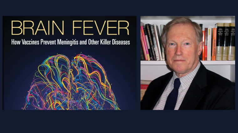 """Book cover of """"Brain fever"""" and a portrait of R. Moxon"""