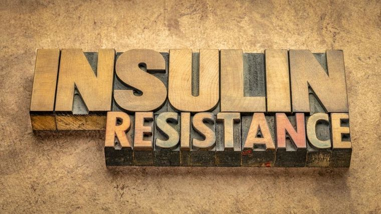 Block letters spelling out 'insulin resistance'