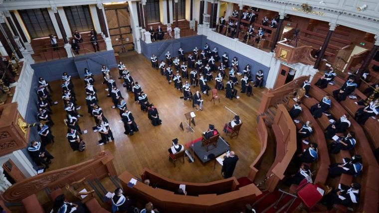 View of the COVID- secure graduation ceremony taking place in the Sheldonian Theatre
