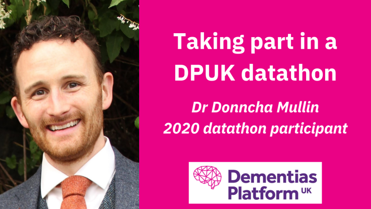 A portrait of Dr Donncha Mullin accompanied by the DPUK logo and text reading 'Taking part in a DPUK datathon; Dr Donncha Mullin, 2020 datathon participant'.