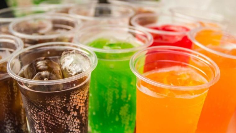 Tray of fizzy drinks